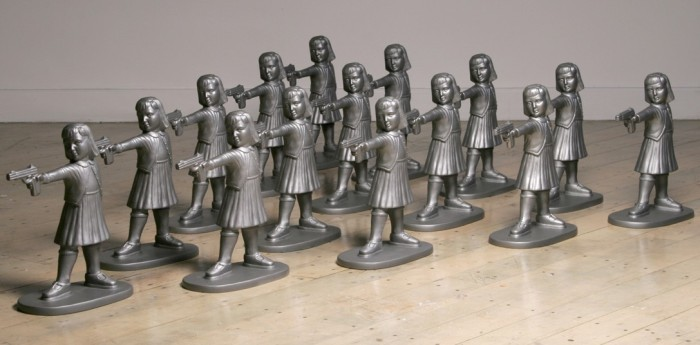 Girls with Guns is an edition of 300 based on an earlier sculpture of eight girls that were cast in iron. Ideally these would be exhibited in groups of 32, the number of soldiers in a platoon. A spoof on toy soldiers and girl dolls, these figures are a critical commentary of our gun obsession and gender biases (good girl/passive girl).lture and good girl/passive girl