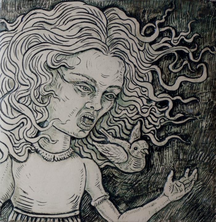 Ceramics, figurative, sculpture, clay sculptures, fine art for sale, figurine, wolf, rabbits, animals, hybrids, children, little girls, women, feminist, social commentary, pottery, busts, portraits, drawings, tiles, cups, cast iron, metal, charcoal, pencil, watercolor, ink, installation, exquisite corpse, nudes, surrealism, contemporary art, gender, tchotchke, kitsch, pop surrealism, postmodernism, domestic, beauty, familial roles, gender roles, low art, Madonna, gun control, gun culture, flower art, buy fine art, collect fine art, art collectors, art collections, fine art collectible, famous artist, renowned artist, valuable art, museum art, museum quality