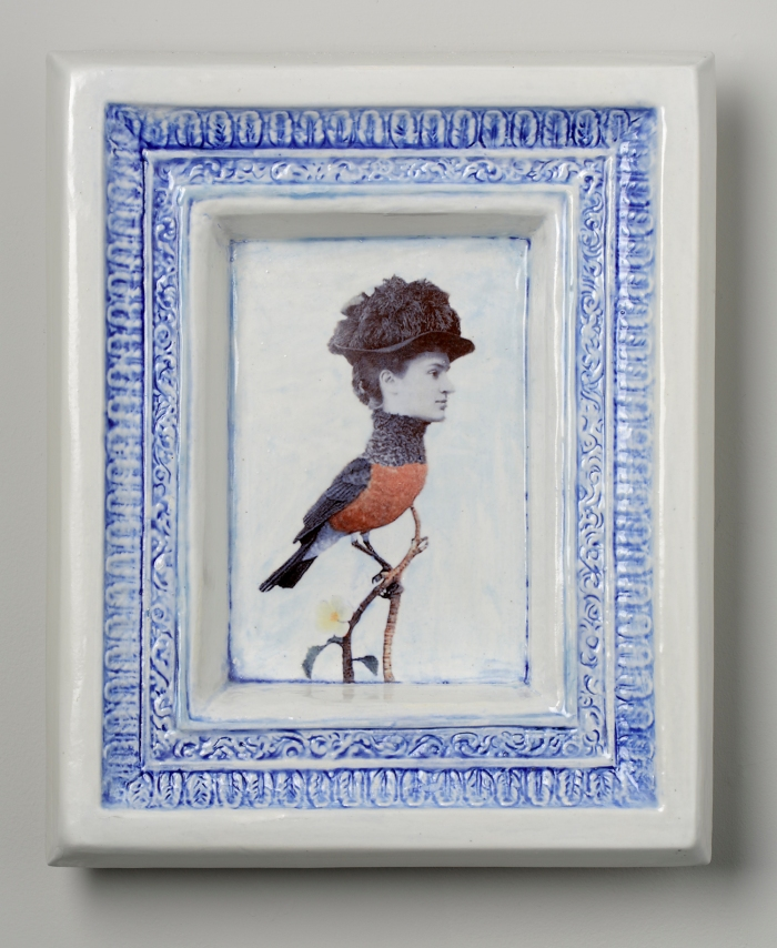 Victorian women's portrait photo on body of bird. Ceramic decal on ceramic frame.