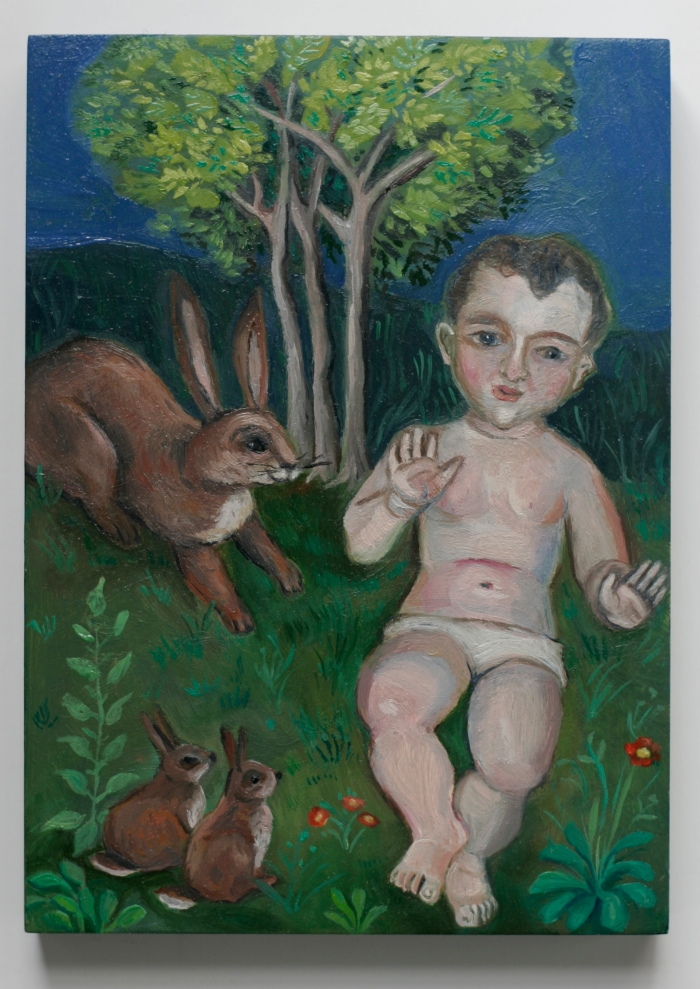Baby with Rabbits