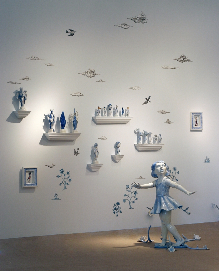 installation, Ceramics, figurative, sculpture, clay sculptures, fine art for sale, figurine, wolf, rabbits, animals, hybrids, children, little girls, women, feminist, social commentary, pottery, busts, portraits, drawings, tiles, cups, cast iron, metal, charcoal, pencil, watercolor, ink, installation, exquisite corpse, nudes, surrealism, contemporary art, gender, tchotchke, kitsch, pop surrealism, postmodernism, domestic, beauty, familial roles, gender roles, low art, Madonna, gun control, gun culture, flower art, buy fine art, collect fine art, art collectors, art collections, fine art collectible, famous artist, renowned artist, valuable art, museum art, museum quality