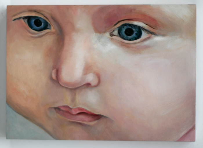 Painting of baby, closeup of face