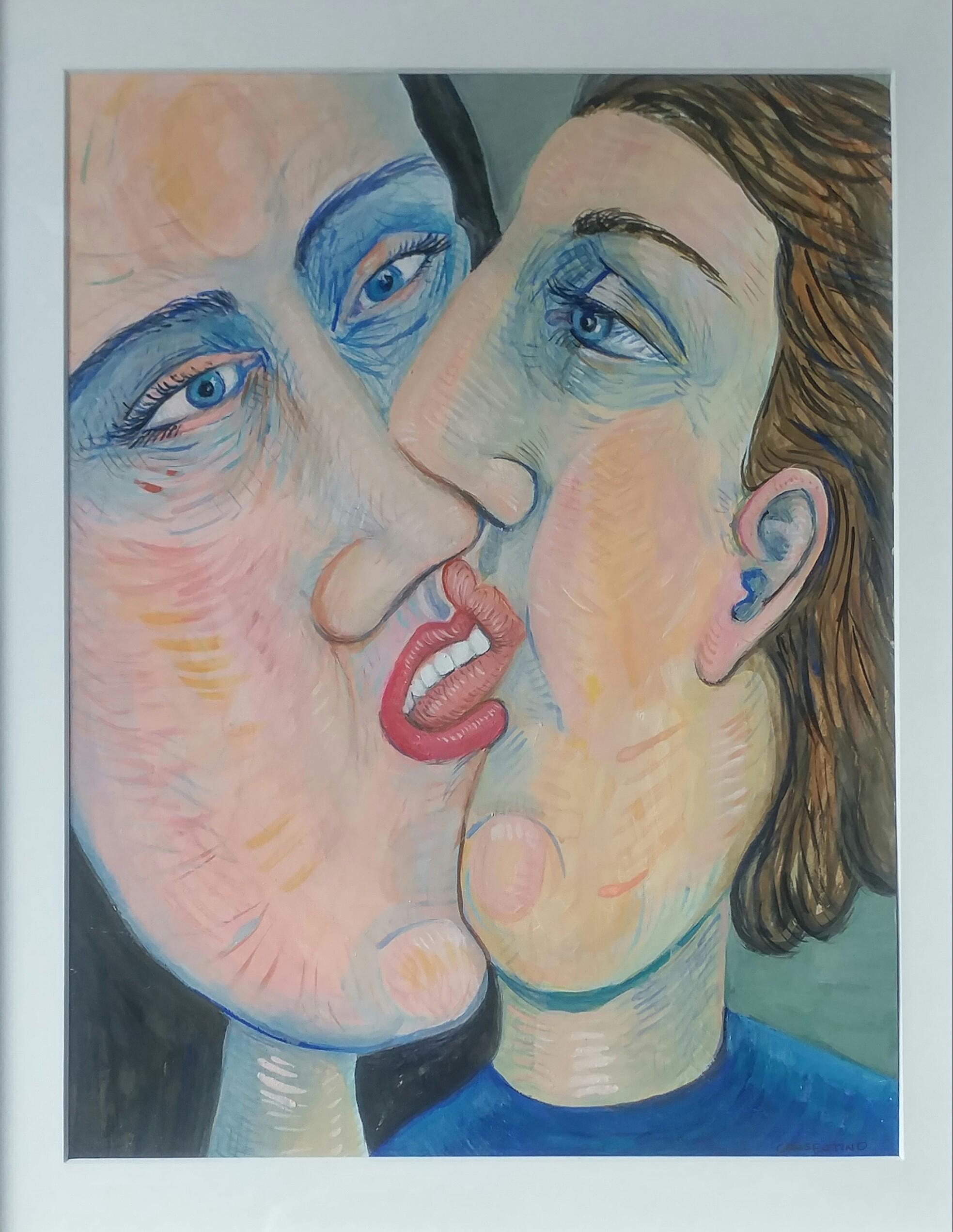 Couple kissing close.